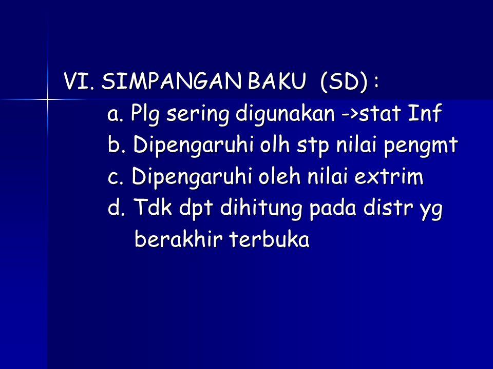 VI.SIMPANGAN BAKU (SD) : a. Plg sering digunakan ->stat Inf a.