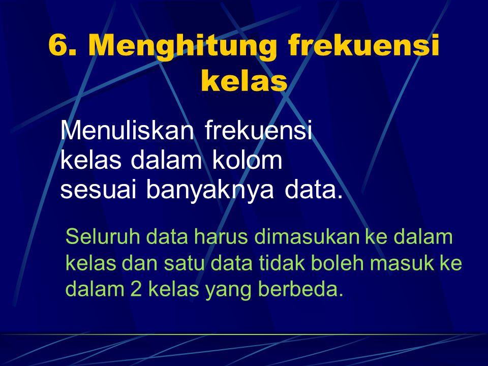 6. Menghitung frekuensi kelas Menuliskan frekuensi kelas dalam kolom sesuai banyaknya data. Seluruh data harus dimasukan ke dalam kelas dan satu data