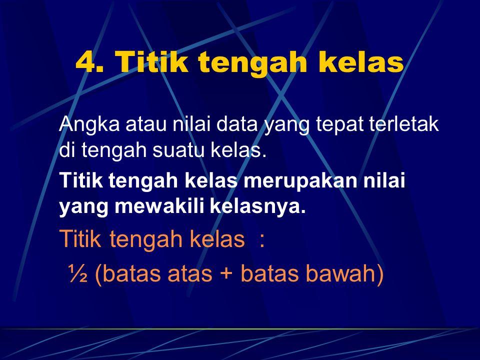 4. Titik tengah kelas Angka atau nilai data yang tepat terletak di tengah suatu kelas. Titik tengah kelas merupakan nilai yang mewakili kelasnya. Titi