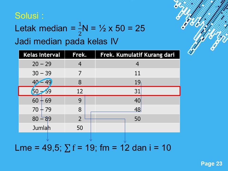 Powerpoint Templates Page 23 Kelas IntervalFrek. 20 – 294 30 – 397 40 – 498 50 – 5912 60 – 699 70 – 798 80 – 892 Jumlah50 Frek. Kumulatif Kurang dari