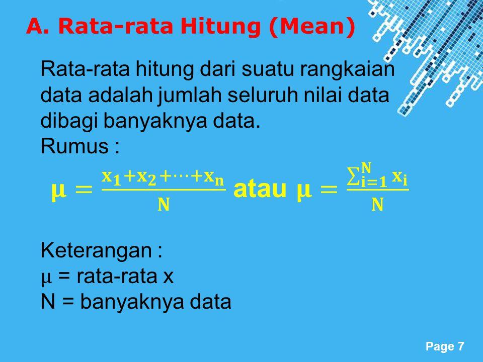 Powerpoint Templates Page 8 1. Rata-rata hitung data tunggal