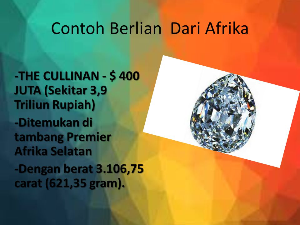 Contoh Berlian Dari Afrika -THE CULLINAN - $ 400 JUTA (Sekitar 3,9 Triliun Rupiah) -Ditemukan di tambang Premier Afrika Selatan -Dengan berat 3.106,75