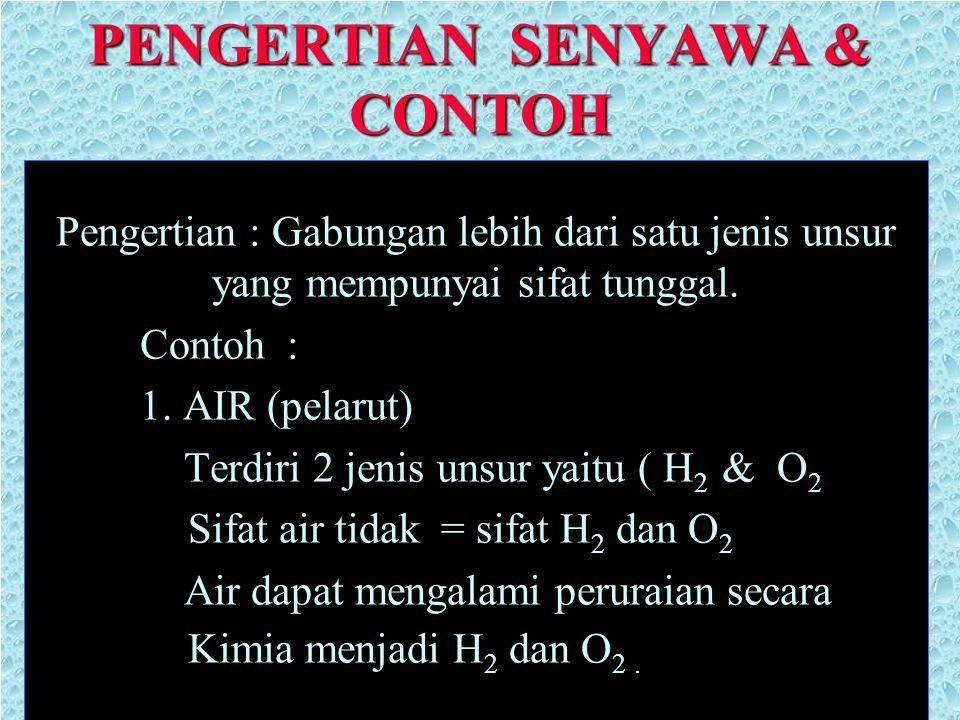 PENGERTIAN SENYAWA & CONTOH Pengertian : Gabungan lebih dari satu jenis unsur yang mempunyai sifat tunggal. Contoh : 1. AIR (pelarut) Terdiri 2 jenis