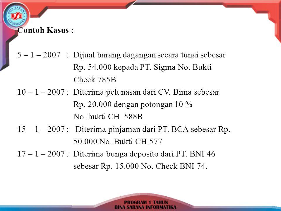 Contoh Kasus : 5 – 1 – 2007: Dijual barang dagangan secara tunai sebesar Rp. 54.000 kepada PT. Sigma No. Bukti Check 785B 10 – 1 – 2007: Diterima pelu