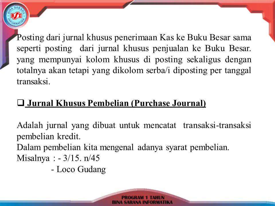 Contoh Soal : 4 – 1 – 2007: Dibeli barang dagangan dengan syarat 2/15.n/30 sebesar Rp.
