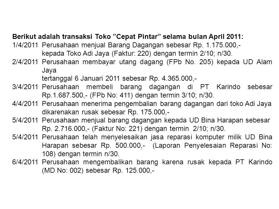 """Berikut adalah transaksi Toko """"Cepat Pintar"""" selama bulan April 2011: 1/4/2011Perusahaan menjual Barang Dagangan sebesar Rp. 1.175.000,- kepada Toko A"""