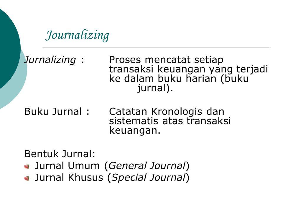 Journalizing Jurnalizing : Proses mencatat setiap transaksi keuangan yang terjadi ke dalam buku harian (buku jurnal). Buku Jurnal : Catatan Kronologis