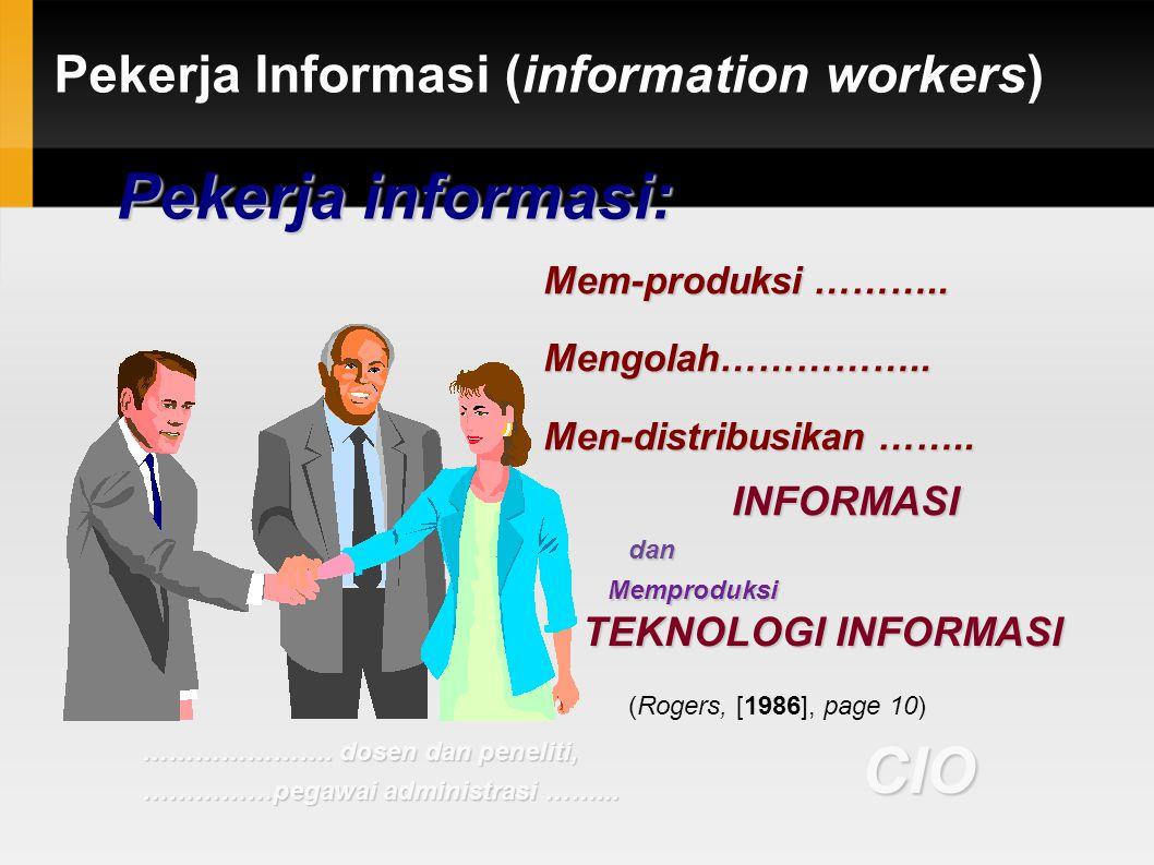 Pekerja Informasi (information workers) Mem-produksi ……….. Mengolah…………….. Men-distribusikan …….. INFORMASI dan Memproduksi TEKNOLOGI INFORMASI CIO P