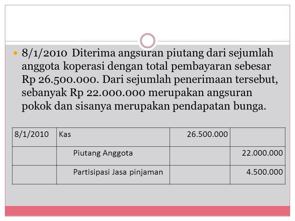 8/1/2010 Diterima angsuran piutang dari sejumlah anggota koperasi dengan total pembayaran sebesar Rp 26.500.000. Dari sejumlah penerimaan tersebut, se