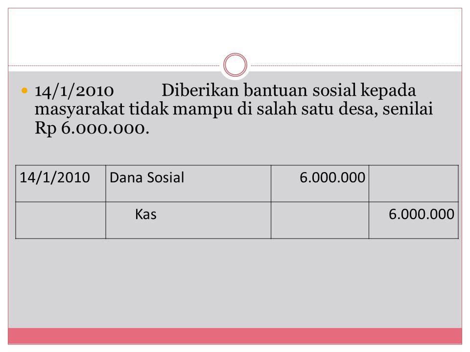 14/1/2010Diberikan bantuan sosial kepada masyarakat tidak mampu di salah satu desa, senilai Rp 6.000.000. 14/1/2010Dana Sosial6.000.000 Kas6.000.000