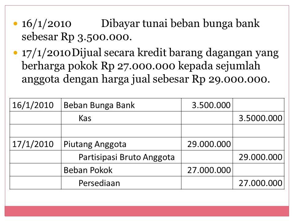 16/1/2010Dibayar tunai beban bunga bank sebesar Rp 3.500.000. 17/1/2010Dijual secara kredit barang dagangan yang berharga pokok Rp 27.000.000 kepada s