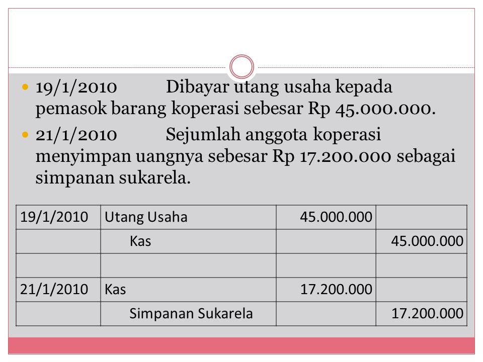 19/1/2010Dibayar utang usaha kepada pemasok barang koperasi sebesar Rp 45.000.000. 21/1/2010Sejumlah anggota koperasi menyimpan uangnya sebesar Rp 17.