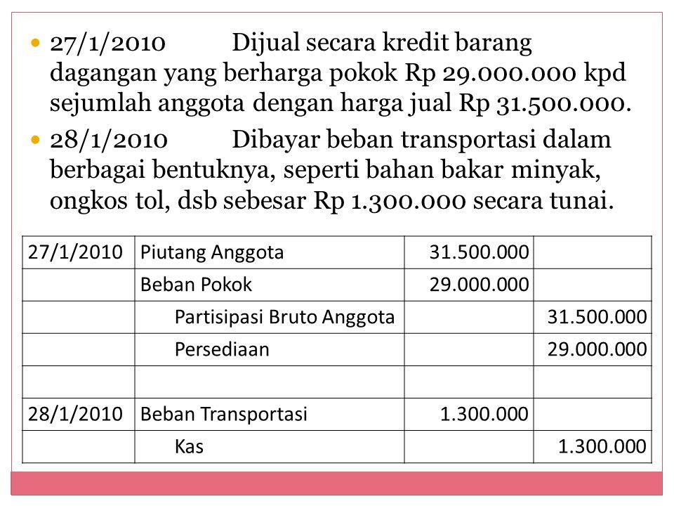 27/1/2010Dijual secara kredit barang dagangan yang berharga pokok Rp 29.000.000 kpd sejumlah anggota dengan harga jual Rp 31.500.000. 28/1/2010Dibayar