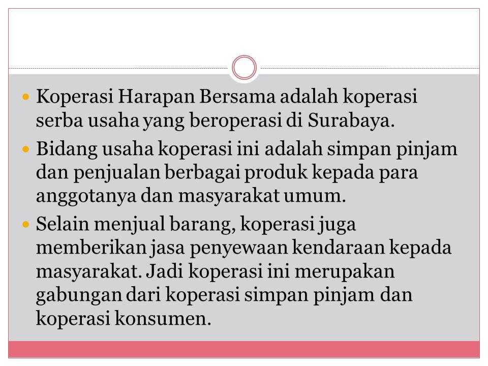 Koperasi Harapan Bersama adalah koperasi serba usaha yang beroperasi di Surabaya. Bidang usaha koperasi ini adalah simpan pinjam dan penjualan berbaga