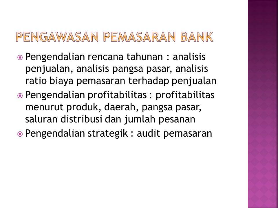  Pengendalian rencana tahunan : analisis penjualan, analisis pangsa pasar, analisis ratio biaya pemasaran terhadap penjualan  Pengendalian profitabi