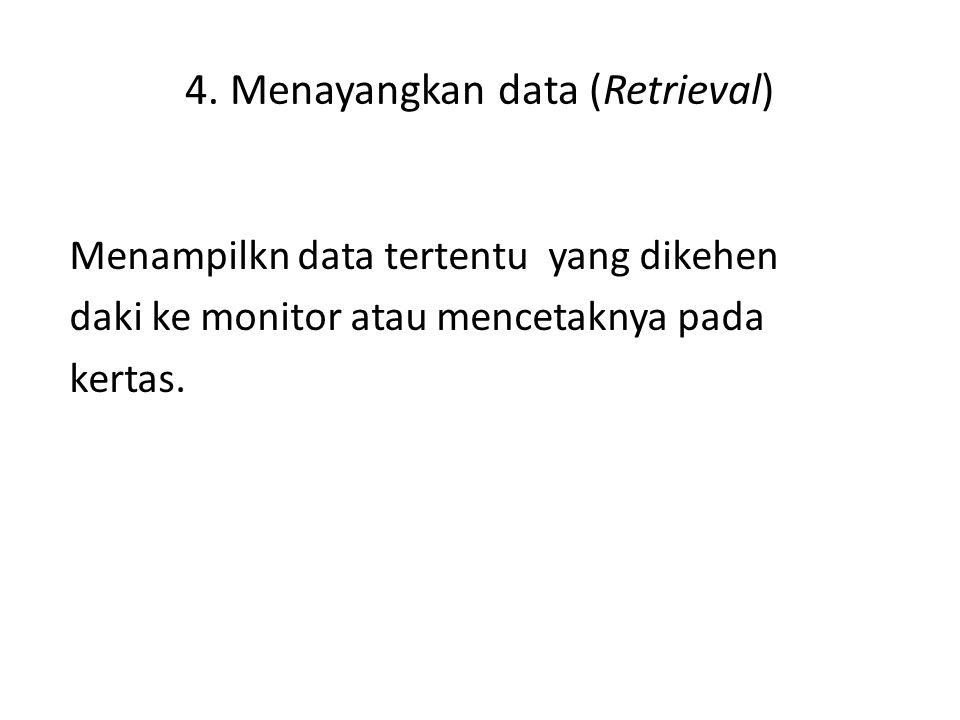 4. Menayangkan data (Retrieval) Menampilkn data tertentu yang dikehen daki ke monitor atau mencetaknya pada kertas.