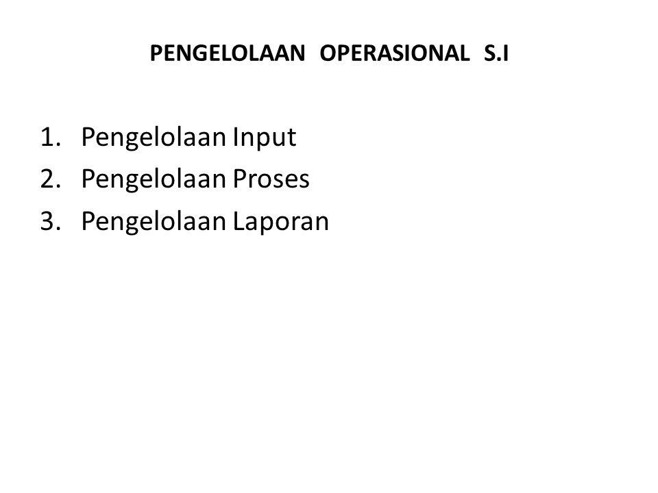 PENGELOLAAN OPERASIONAL S.I 1.Pengelolaan Input 2.Pengelolaan Proses 3.Pengelolaan Laporan