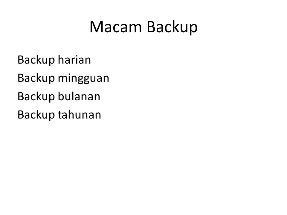 Macam Backup Backup harian Backup mingguan Backup bulanan Backup tahunan