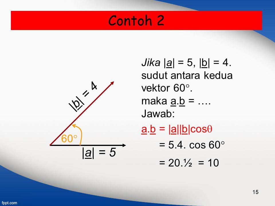 15 Contoh 2 |a| = 5 60  Jika |a| = 5, |b| = 4. sudut antara kedua vektor 60 . maka a.b = …. Jawab: a.b = |a||b|cos  = 5.4. cos 60  = 20.½ = 10 |b|