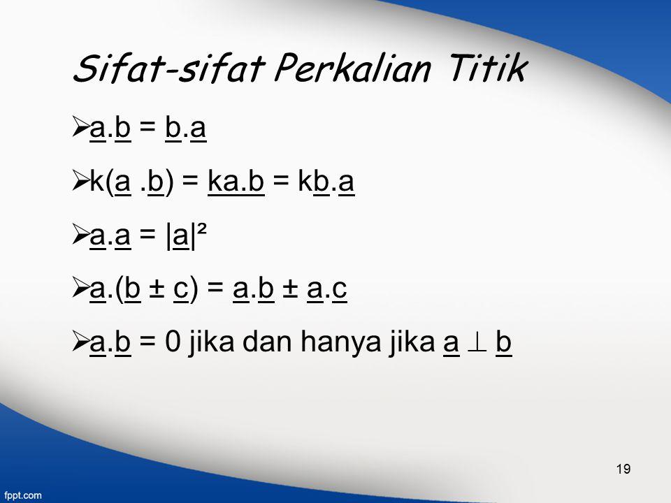 19 Sifat-sifat Perkalian Titik  a.b = b.a  k(a.b) = ka.b = kb.a  a.a = |a|²  a.(b ± c) = a.b ± a.c  a.b = 0 jika dan hanya jika a  b