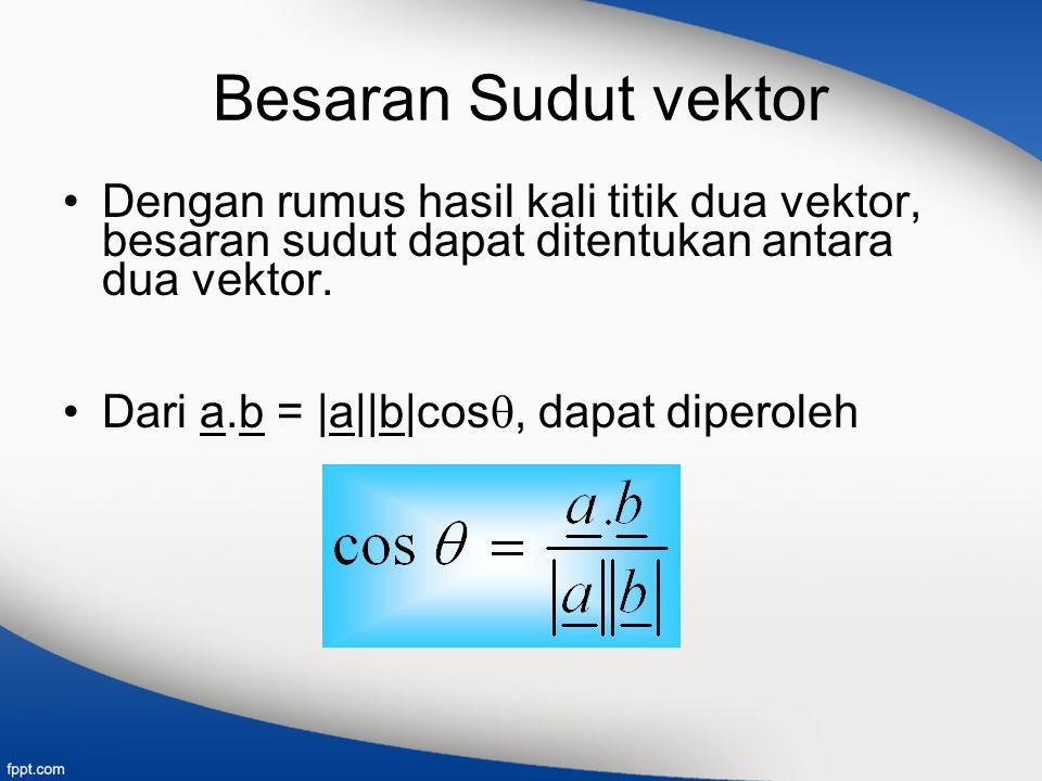 Besaran Sudut vektor Dengan rumus hasil kali titik dua vektor, besaran sudut dapat ditentukan antara dua vektor.
