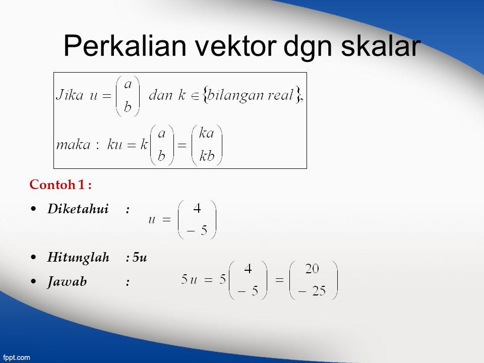 Perkalian vektor dgn skalar Contoh 1 : Diketahui : Hitunglah : 5u Jawab :