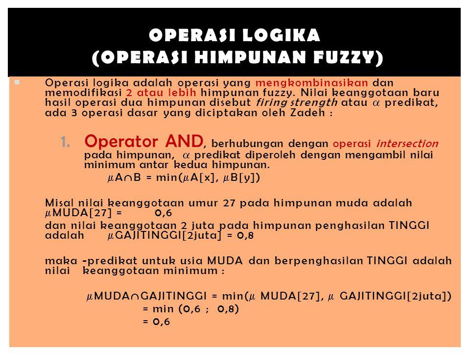  Operasi logika adalah operasi yang mengkombinasikan dan memodifikasi 2 atau lebih himpunan fuzzy. Nilai keanggotaan baru hasil operasi dua himpunan