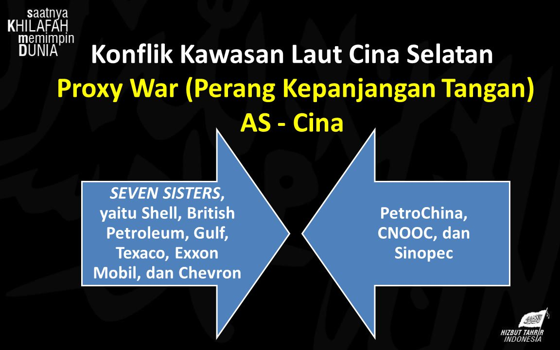 Konflik Kawasan Laut Cina Selatan Proxy War (Perang Kepanjangan Tangan) AS - Cina SEVEN SISTERS, yaitu Shell, British Petroleum, Gulf, Texaco, Exxon M