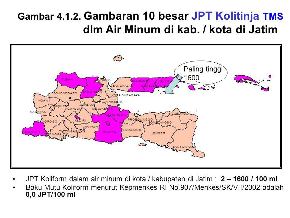 Gambar 4.1.2. Gambaran 10 besar JPT Kolitinja TMS dlm Air Minum di kab. / kota di Jatim JPT Koliform dalam air minum di kota / kabupaten di Jatim : 2