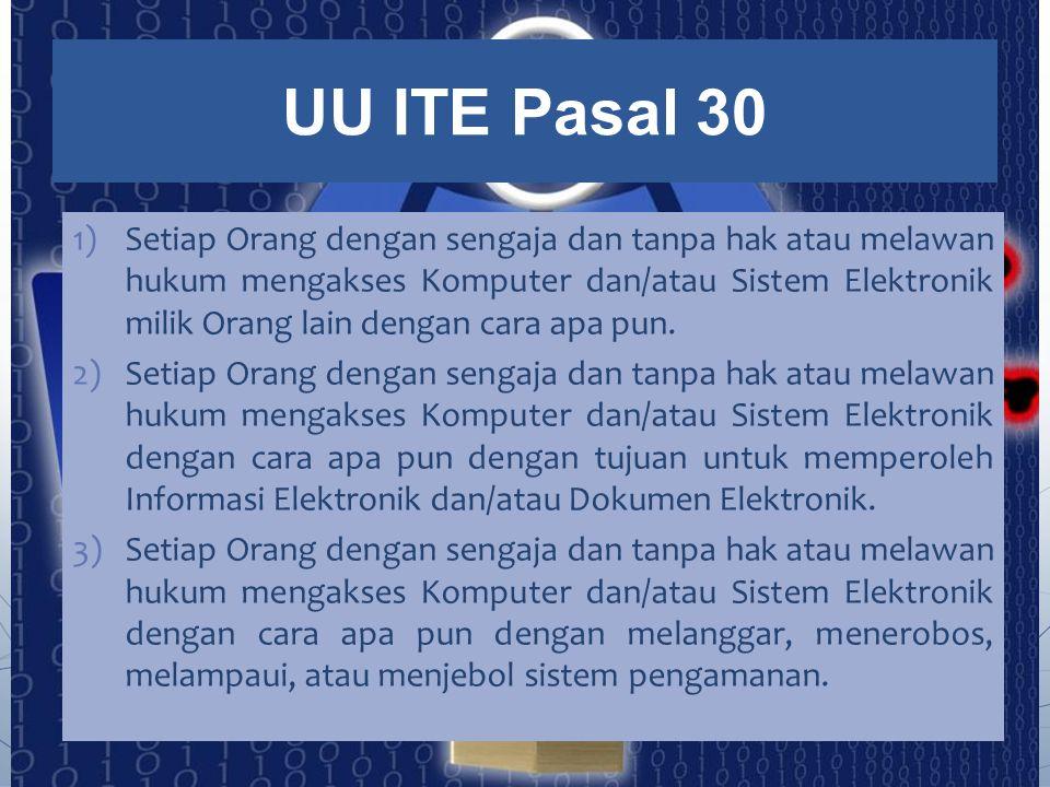 1)Setiap Orang dengan sengaja dan tanpa hak atau melawan hukum mengakses Komputer dan/atau Sistem Elektronik milik Orang lain dengan cara apa pun. 2)S