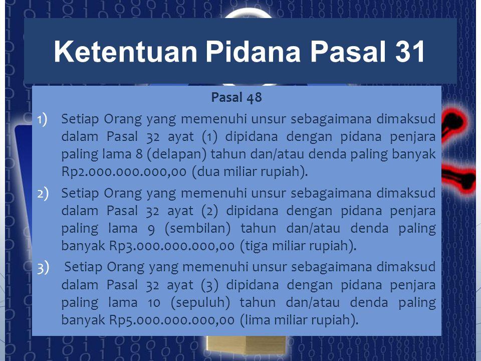 Pasal 48 1)Setiap Orang yang memenuhi unsur sebagaimana dimaksud dalam Pasal 32 ayat (1) dipidana dengan pidana penjara paling lama 8 (delapan) tahun