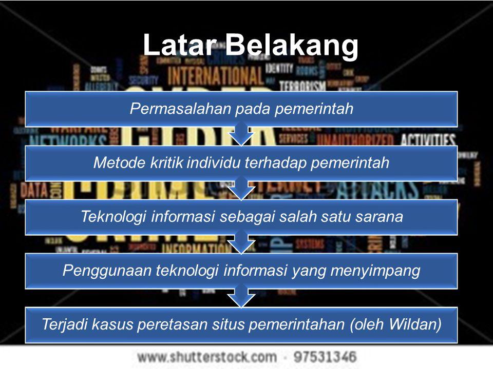 Latar Belakang Terjadi kasus peretasan situs pemerintahan (oleh Wildan) Penggunaan teknologi informasi yang menyimpang Teknologi informasi sebagai sal