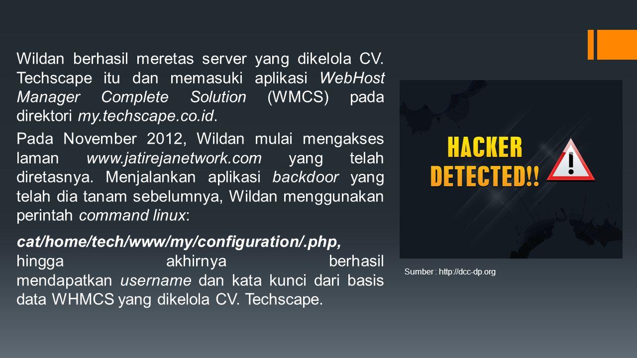 Wildan berhasil meretas server yang dikelola CV.