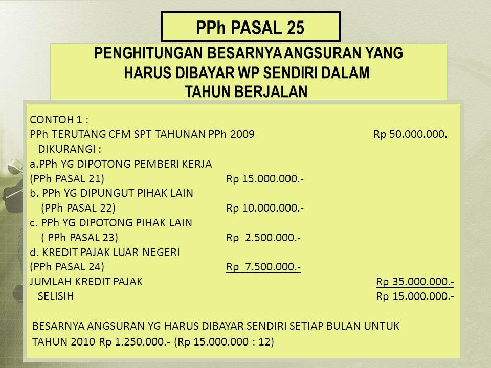PPh PASAL 25 PENGHITUNGAN BESARNYA ANGSURAN YANG HARUS DIBAYAR WP SENDIRI DALAM TAHUN BERJALAN CONTOH 1 : PPh TERUTANG CFM SPT TAHUNAN PPh 2009 Rp 50.