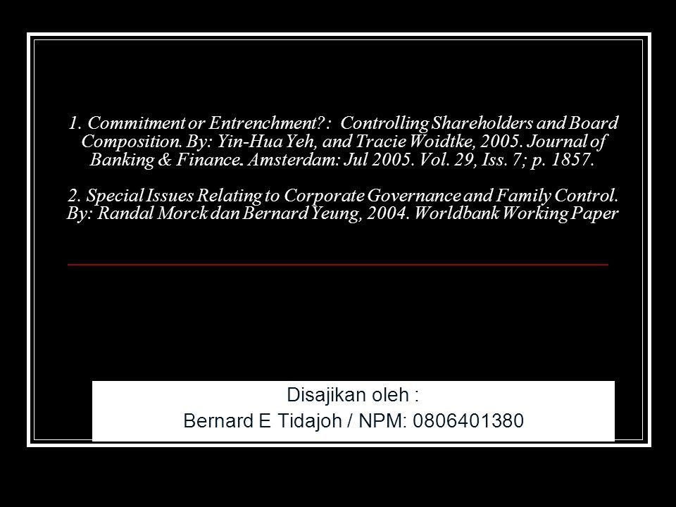 2 Introduction Kebanyakan penelitian CG diadakah dengan sampel perusahaan besar atau korporasi di USA yang pada umumnya memiliki kepemilikan yang tersebar (widely held).