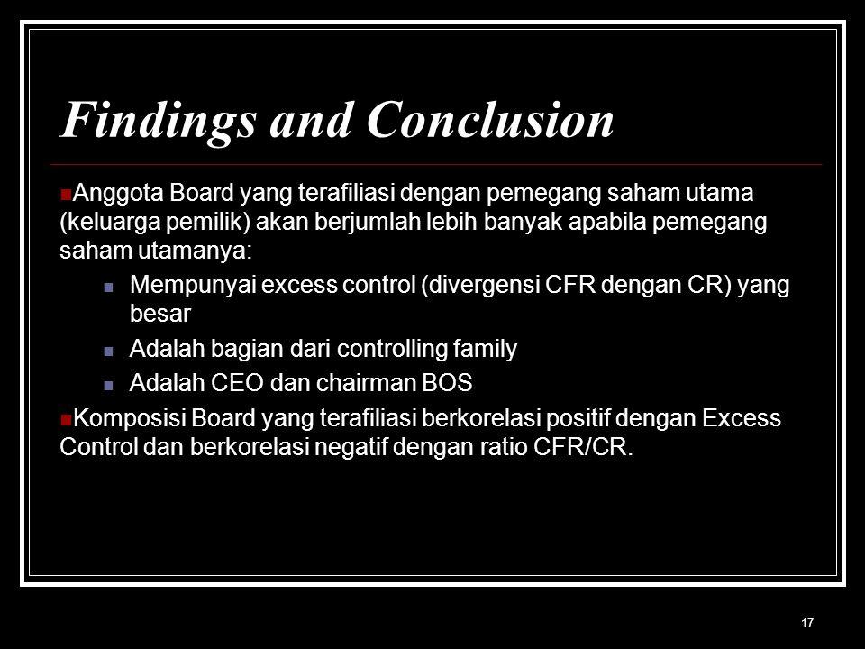 17 Findings and Conclusion Anggota Board yang terafiliasi dengan pemegang saham utama (keluarga pemilik) akan berjumlah lebih banyak apabila pemegang saham utamanya: Mempunyai excess control (divergensi CFR dengan CR) yang besar Adalah bagian dari controlling family Adalah CEO dan chairman BOS Komposisi Board yang terafiliasi berkorelasi positif dengan Excess Control dan berkorelasi negatif dengan ratio CFR/CR.