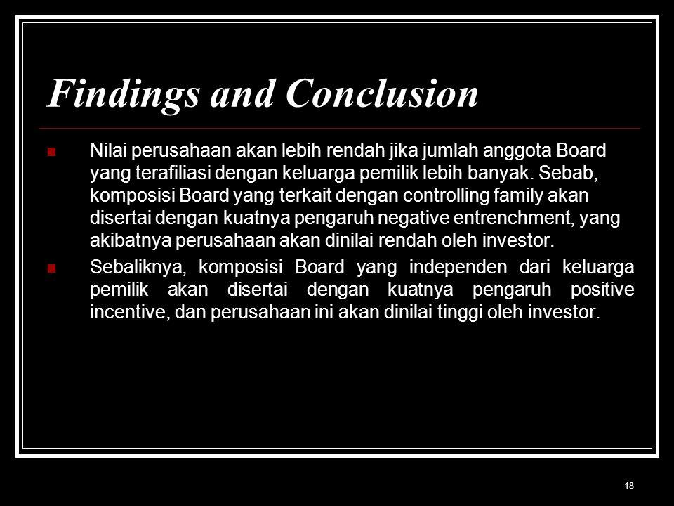 18 Findings and Conclusion Nilai perusahaan akan lebih rendah jika jumlah anggota Board yang terafiliasi dengan keluarga pemilik lebih banyak.