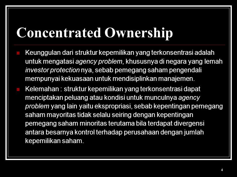 4 Concentrated Ownership Keunggulan dari struktur kepemilikan yang terkonsentrasi adalah untuk mengatasi agency problem, khususnya di negara yang lemah investor protection nya, sebab pemegang saham pengendali mempunyai kekuasaan untuk mendisiplinkan manajemen.