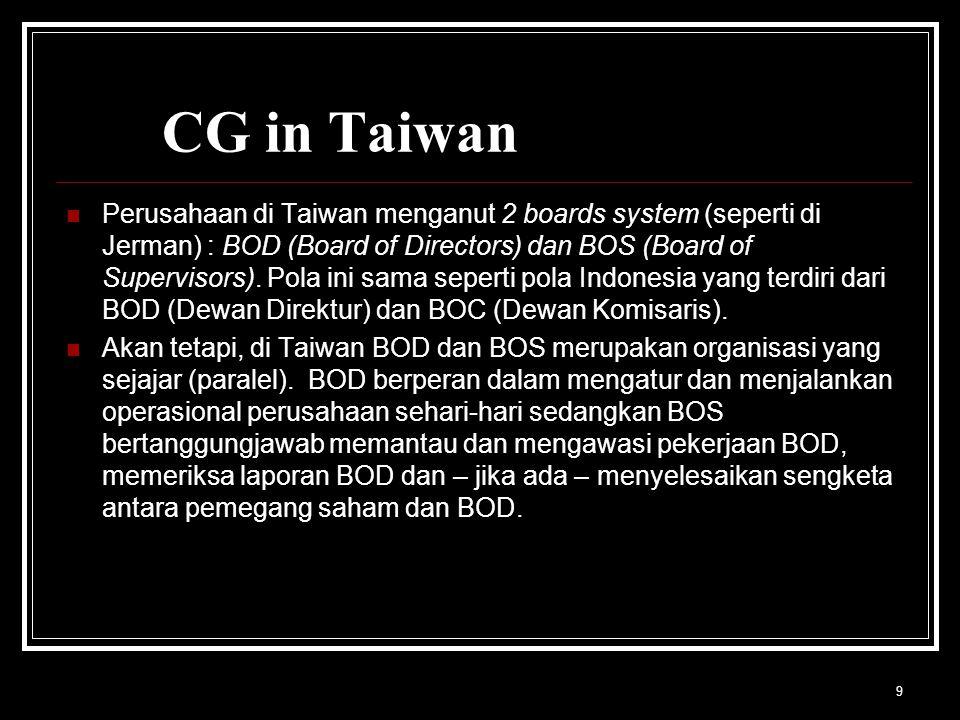 9 CG in Taiwan Perusahaan di Taiwan menganut 2 boards system (seperti di Jerman) : BOD (Board of Directors) dan BOS (Board of Supervisors).