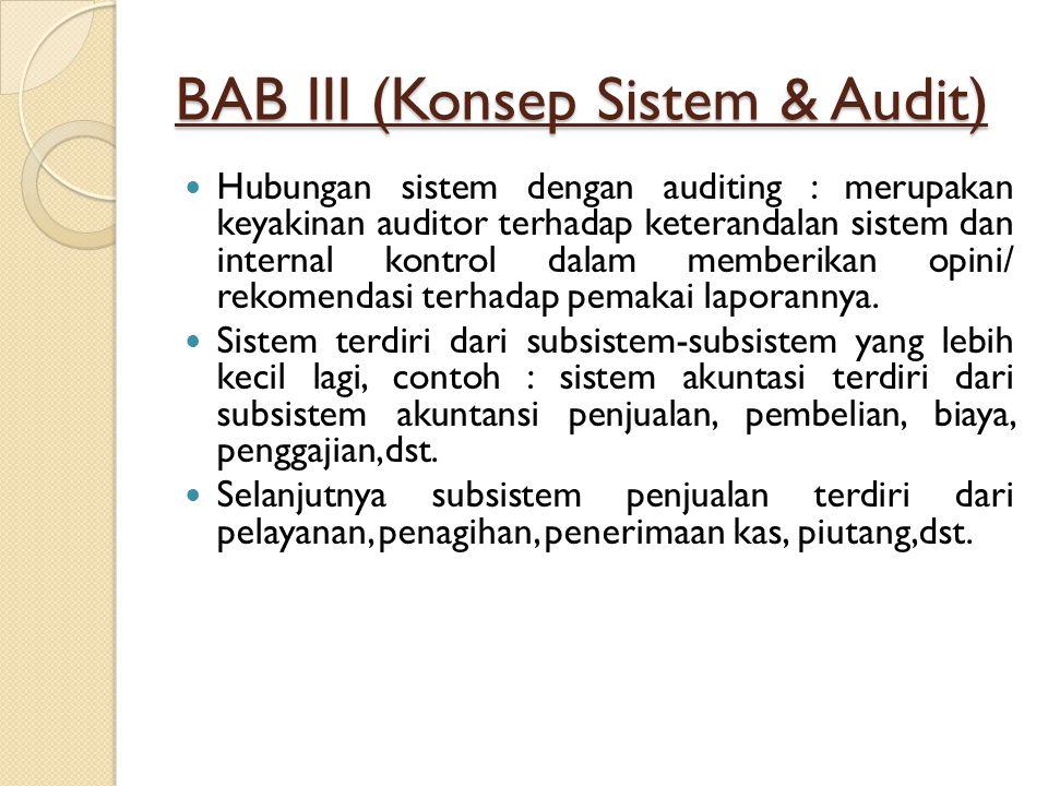 BAB III (Konsep Sistem & Audit) Hubungan sistem dengan auditing : merupakan keyakinan auditor terhadap keterandalan sistem dan internal kontrol dalam