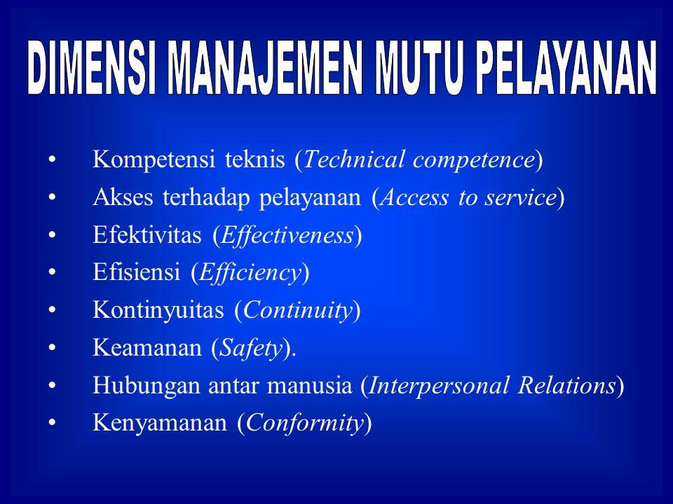 Kompetensi teknis (Technical competence) Akses terhadap pelayanan (Access to service) Efektivitas (Effectiveness) Efisiensi (Efficiency) Kontinyuitas