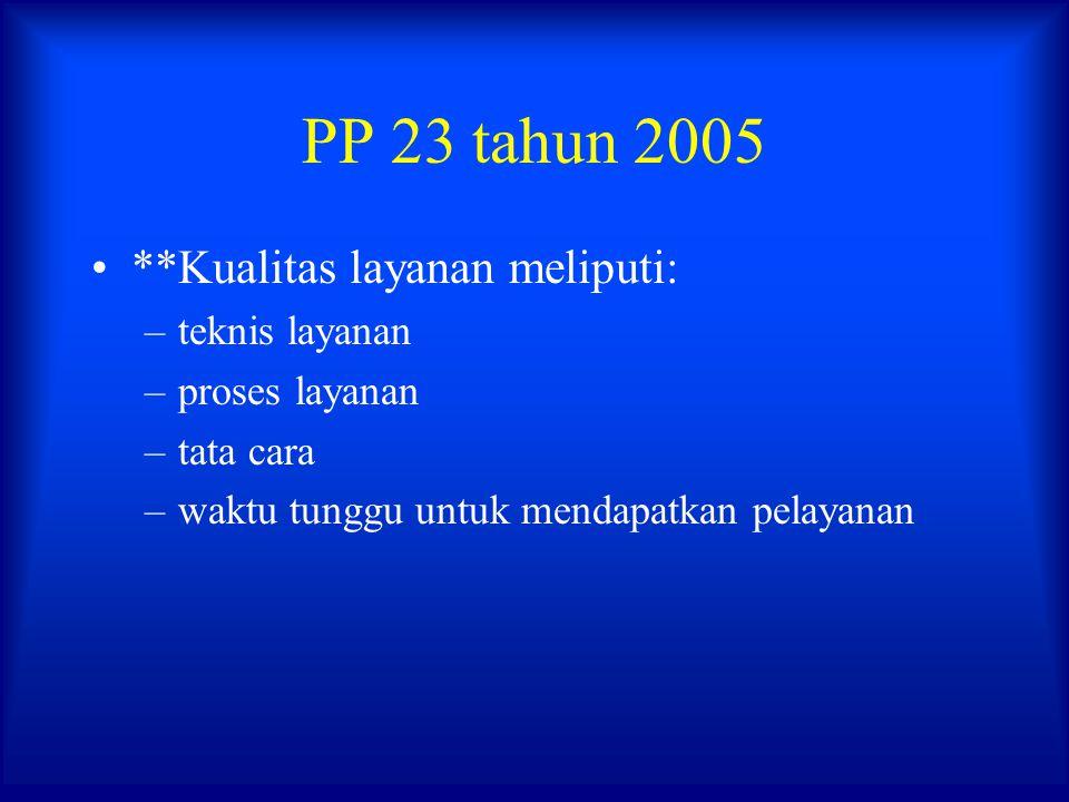 PP 23 tahun 2005 **Kualitas layanan meliputi: –teknis layanan –proses layanan –tata cara –waktu tunggu untuk mendapatkan pelayanan