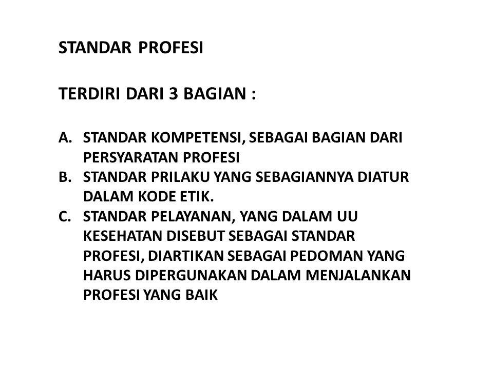 Untuk menetapkan standar profesi Kedokteran diperlukan syarat : 1.