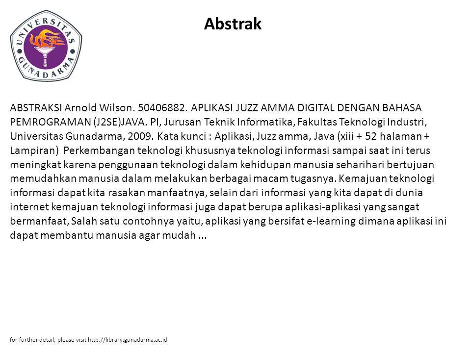 Abstrak ABSTRAKSI Arnold Wilson. 50406882.