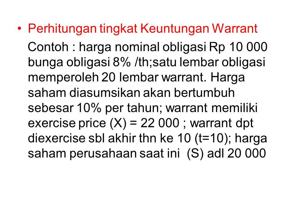 Perhitungan tingkat Keuntungan Warrant Contoh : harga nominal obligasi Rp 10 000 bunga obligasi 8% /th;satu lembar obligasi memperoleh 20 lembar warra