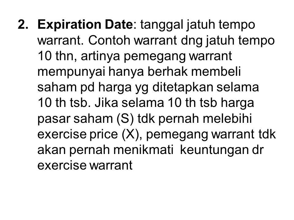 2.Expiration Date: tanggal jatuh tempo warrant. Contoh warrant dng jatuh tempo 10 thn, artinya pemegang warrant mempunyai hanya berhak membeli saham p