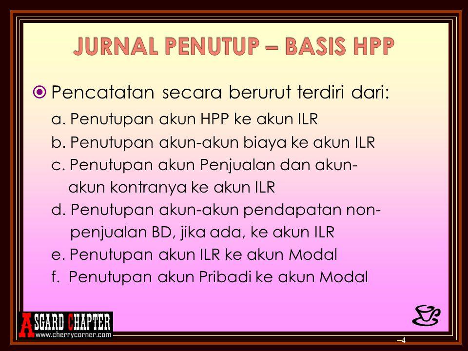  Pencatatan secara berurut terdiri dari: a. Penutupan akun HPP ke akun ILR b. Penutupan akun-akun biaya ke akun ILR c. Penutupan akun Penjualan dan a
