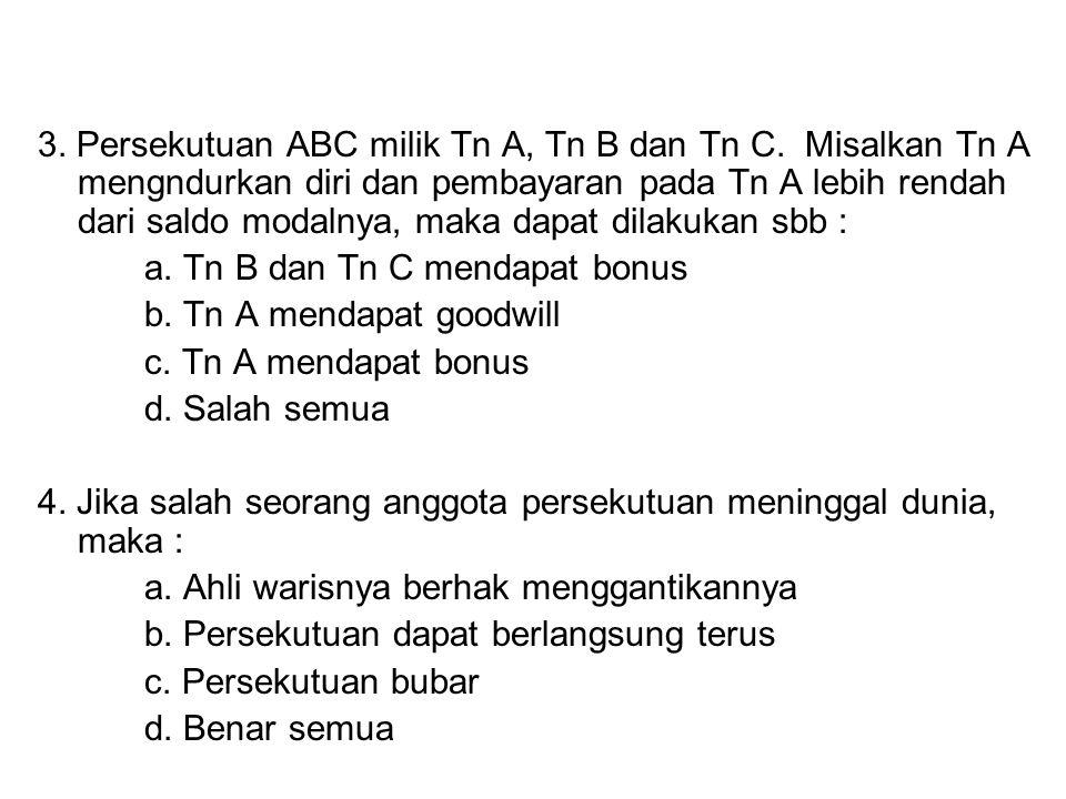 3.Persekutuan ABC milik Tn A, Tn B dan Tn C.