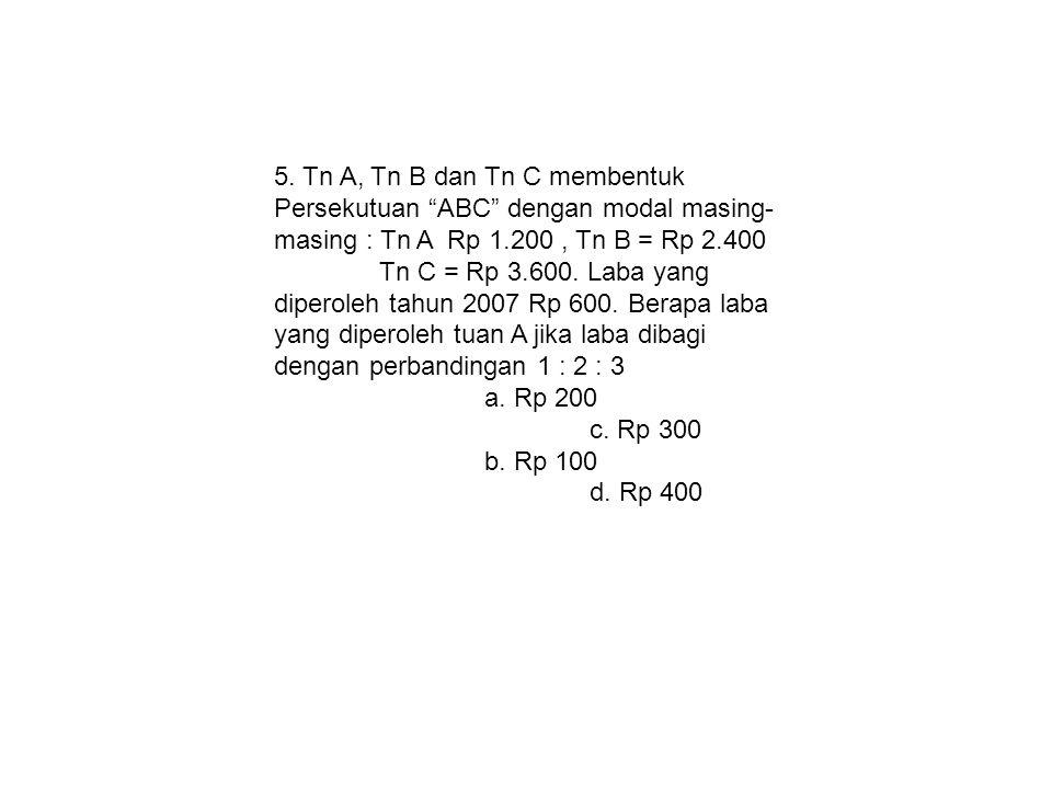 """5. Tn A, Tn B dan Tn C membentuk Persekutuan """"ABC"""" dengan modal masing- masing : Tn A Rp 1.200, Tn B = Rp 2.400 Tn C = Rp 3.600. Laba yang diperoleh t"""