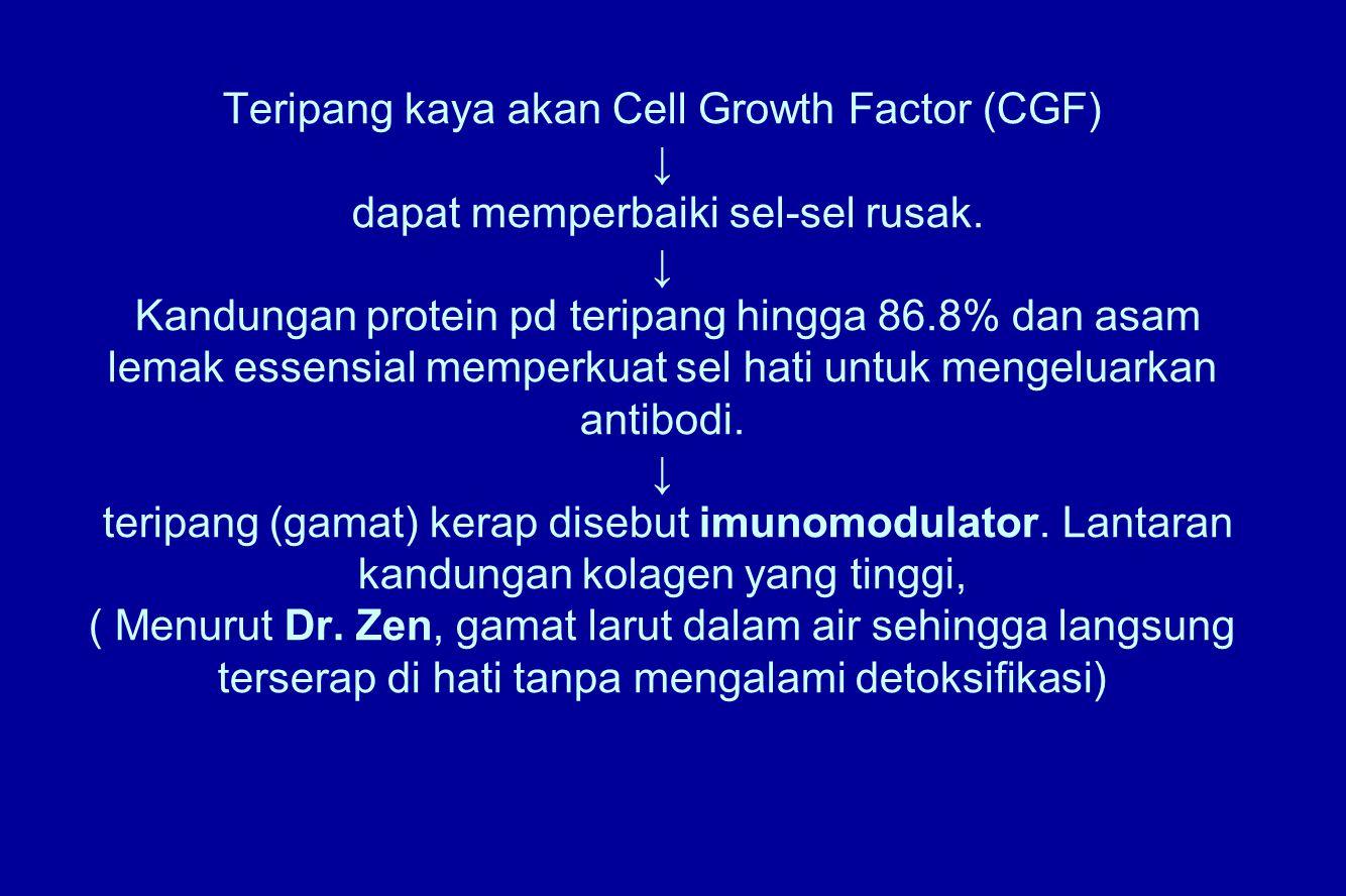 Teripang kaya akan Cell Growth Factor (CGF) ↓ dapat memperbaiki sel-sel rusak. ↓ Kandungan protein pd teripang hingga 86.8% dan asam lemak essensial m